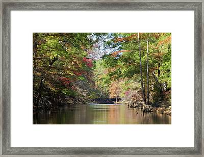 Autumn Over Golden Waters Framed Print by Lana Trussell