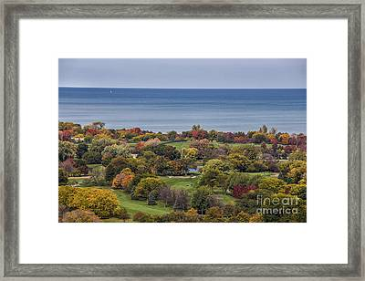 Autumn Over The Park And Lake In Chicago Illinois  Framed Print by Linda Matlow