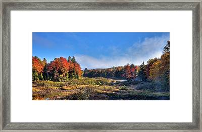 Framed Print featuring the photograph Autumn Panorama At The Green Bridge by David Patterson