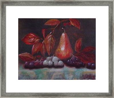 Autumn Pear With Grapes Framed Print