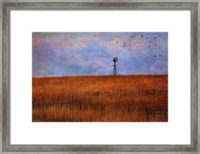 Autumn Prairie Windmill Framed Print