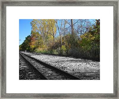 Autumn Rail Line Framed Print by Scott Hovind
