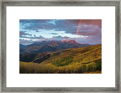 Autumn Rainbow Over Mount Timpanogos Framed Print by James Udall