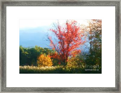 Framed Print featuring the mixed media Autumn Red And Yellow by Smilin Eyes  Treasures