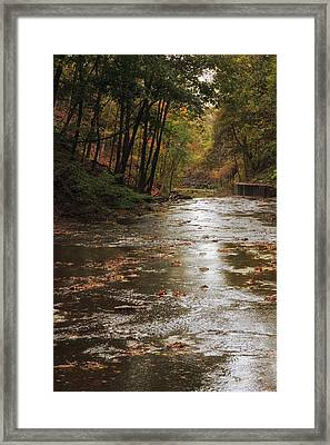 Autumn River Glow Framed Print