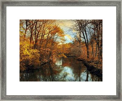 Autumn River Lights Framed Print by Jessica Jenney