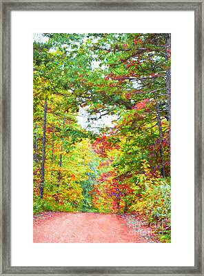 Autumn Road - Digital Paint Framed Print by Debbie Portwood
