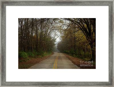 Autumn Road Framed Print by Inspired Arts