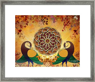 Autumn Serenade - Mandala Of The Two Peacocks Framed Print