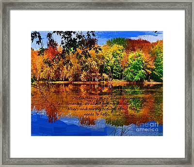 Framed Print featuring the painting Autumn Serenity Philanthropy Painted by Diane E Berry