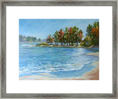 Autumn Shores - Jordan Lake Framed Print by L Diane Johnson