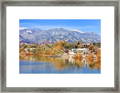 Autumn Snow At The Lake Framed Print by Diane Alexander