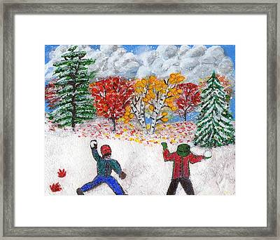 Autumn Snow Framed Print by Lisa Hinshaw
