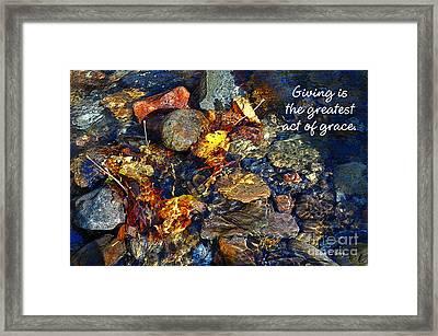 Autumn Splash Grace Framed Print by Diane E Berry