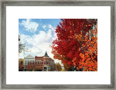Autumn Splendor Along The Downtown Fayetteville Arkansas Skyline  Framed Print