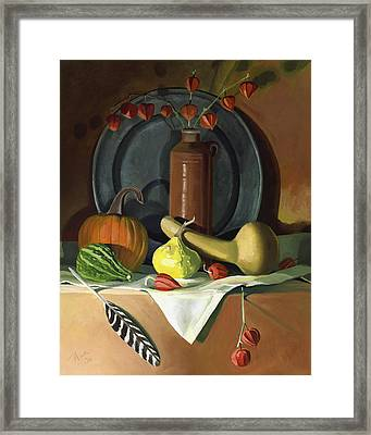 Framed Print featuring the painting Autumn Still Life by Nancy Griswold