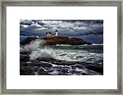 Autumn Storm At Cape Neddick Framed Print by Rick Berk