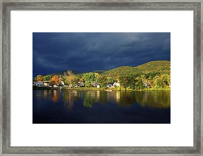 Autumn Storm Over Connecticut River Framed Print by John Burk