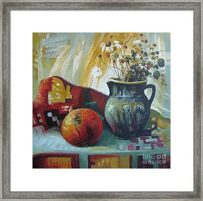Framed Print featuring the painting Autumn Story by Elena Oleniuc