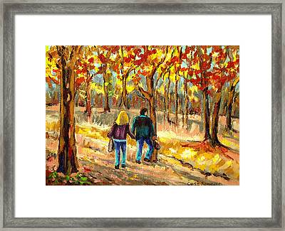 Autumn  Stroll On Mount Royal Framed Print by Carole Spandau