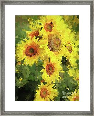 Autumn Sunflowers Framed Print by Tina LeCour