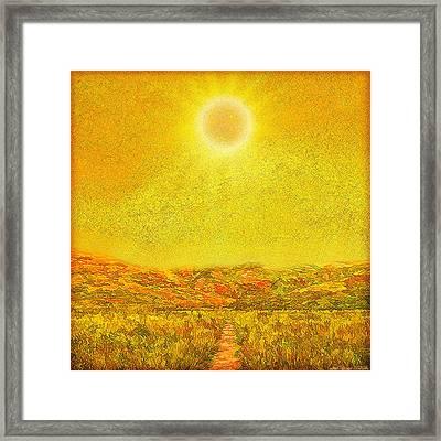 Framed Print featuring the digital art Golden Sunlit Path - Marin California by Joel Bruce Wallach