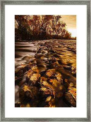 Autumn Sunrise Along Boise River In Boise Idaho Framed Print