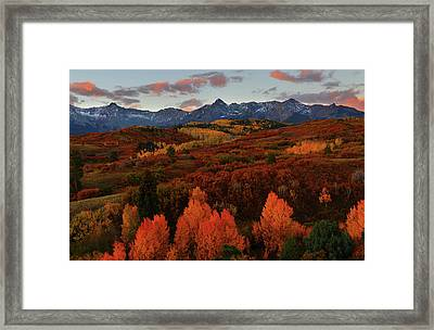 Framed Print featuring the photograph Autumn Sunrise At Dallas Divide In Colorado by Jetson Nguyen