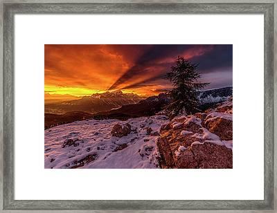 Autumn Sunrise At Passo Falzarego Framed Print by Lubos Balazovic