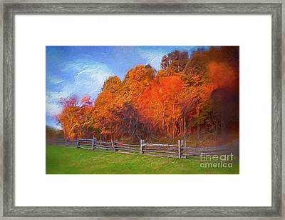 Autumn Sunrise At Peaks Of Otter In The Blue Ridge Ap Framed Print by Dan Carmichael