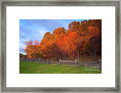 Framed Print featuring the photograph Autumn Sunrise At Peaks Of Otter In The Blue Ridge by Dan Carmichael