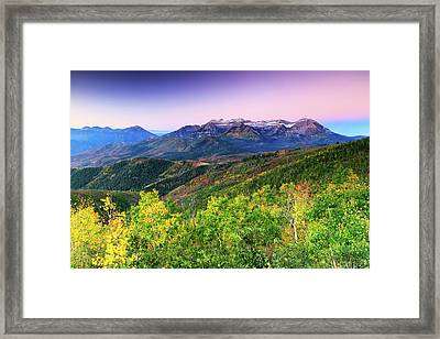 Framed Print featuring the photograph Autumn Sunrise In The Utah Mountains. by Johnny Adolphson