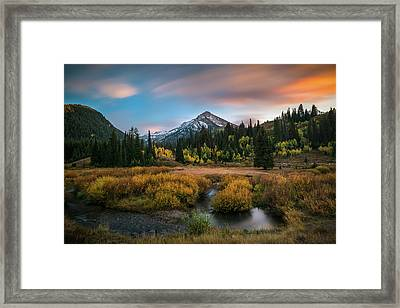 Autumn Sunset In Big Cottonwood Canyon Framed Print