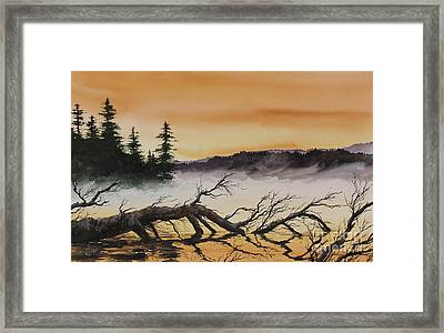 Framed Print featuring the painting Autumn Sunset Mist by James Williamson