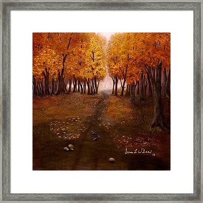Framed Print featuring the painting Autumn Trail by Sena Wilson