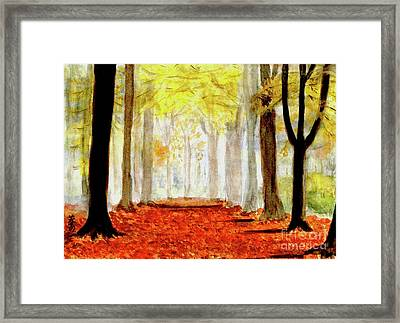 Framed Print featuring the painting Autumn Trail by Yoshiko Mishina