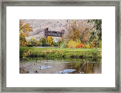 Autumn Train Bridge Framed Print by Brad Stinson
