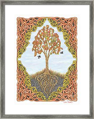 Autumn Tree With Knotted Roots And Knotted Border Framed Print by Lise Winne