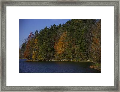 Autumn Trees Along The Shore Framed Print by Garry Gay