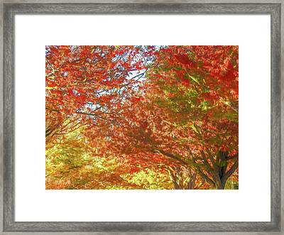 Autumn Trees Digital Watercolor Framed Print