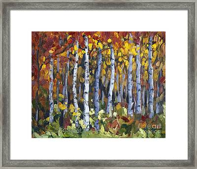 Framed Print featuring the painting Autumn Trees by Jennifer Beaudet