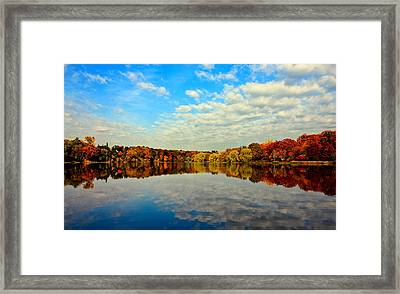 Autumn Trees Reflection Framed Print