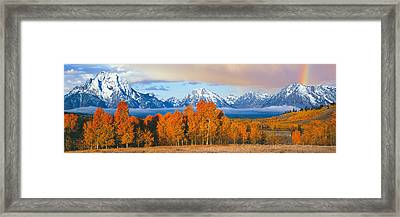Autumn Trees With Mountain Range Framed Print