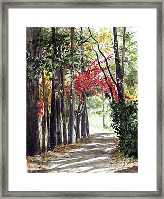 Autumn Walk Framed Print by Carla Dabney