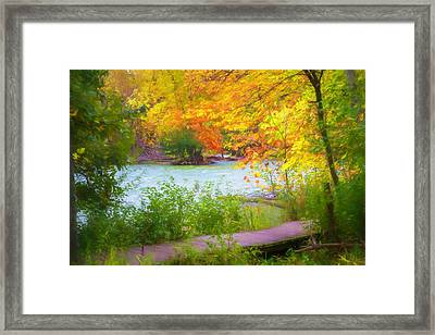 Framed Print featuring the mixed media Autumn Walk by Joel Witmeyer