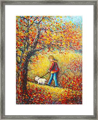 Framed Print featuring the painting Autumn Walk  by Natalie Holland