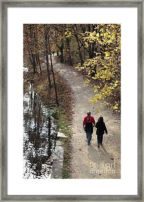 Autumn Walk On The C And O Canal Towpath With Oil Painting Effect Framed Print