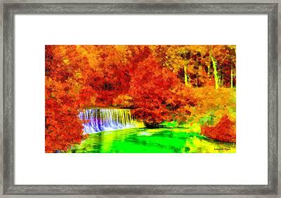 Autumn Waterfall - Da Framed Print by Leonardo Digenio