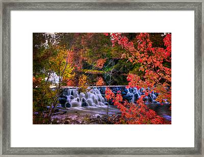 Autumn Waterfall - New England Fall Foliage Framed Print