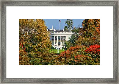 Framed Print featuring the photograph Autumn White House by Mitch Cat